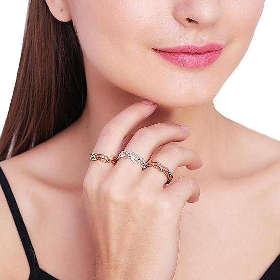 Leaves Shape Rose Gold Plated Stackable Adjustable Ring