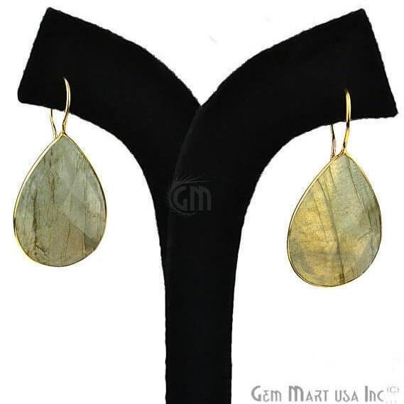 Labradorite 44X20mm Gold Plated Gemstone Dangle Earrings