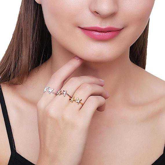Splash Shape Rose Gold Plated Stackable Adjustable Ring