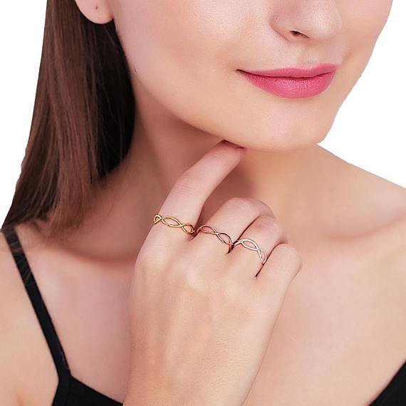 Infinity Shape Rose Gold Plated Stackable Adjustable Ring