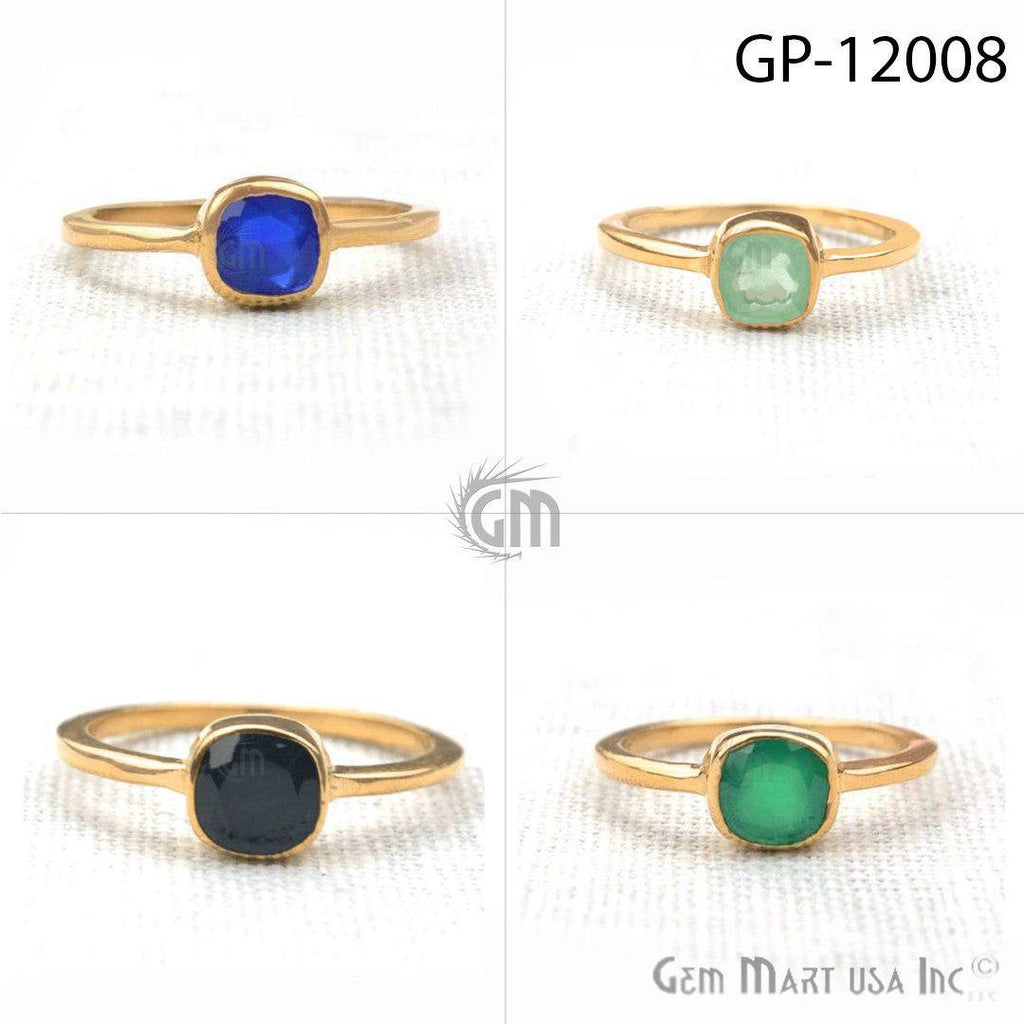 Gold Plated 6mm Cushion Shape Single Gemstone Solitaire Ring (GP-12008)