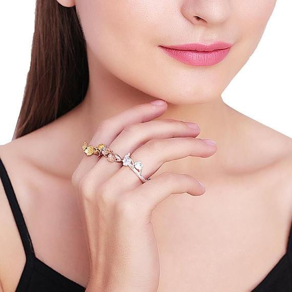 Flower Shape Silver Plated Stackable Adjustable Ring