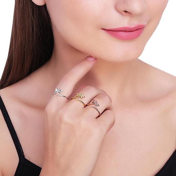 Butterfly Shape Rose Gold Plated Stackable Adjustable Ring
