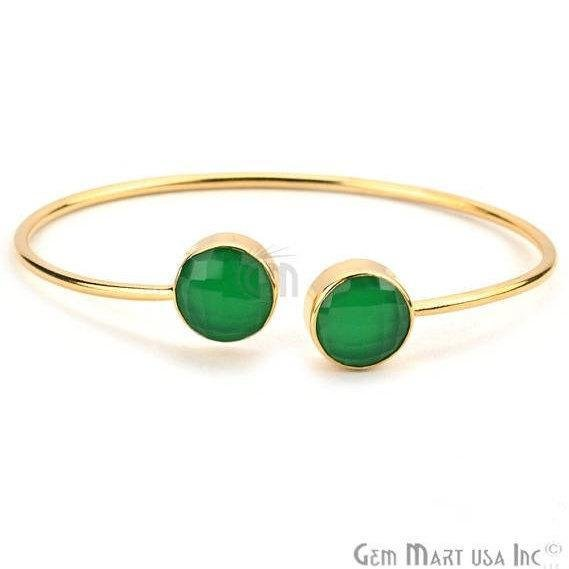 Green Onyx 12mm Round Shape Gold Plated Handmade Adjustable Bangle Bracelet