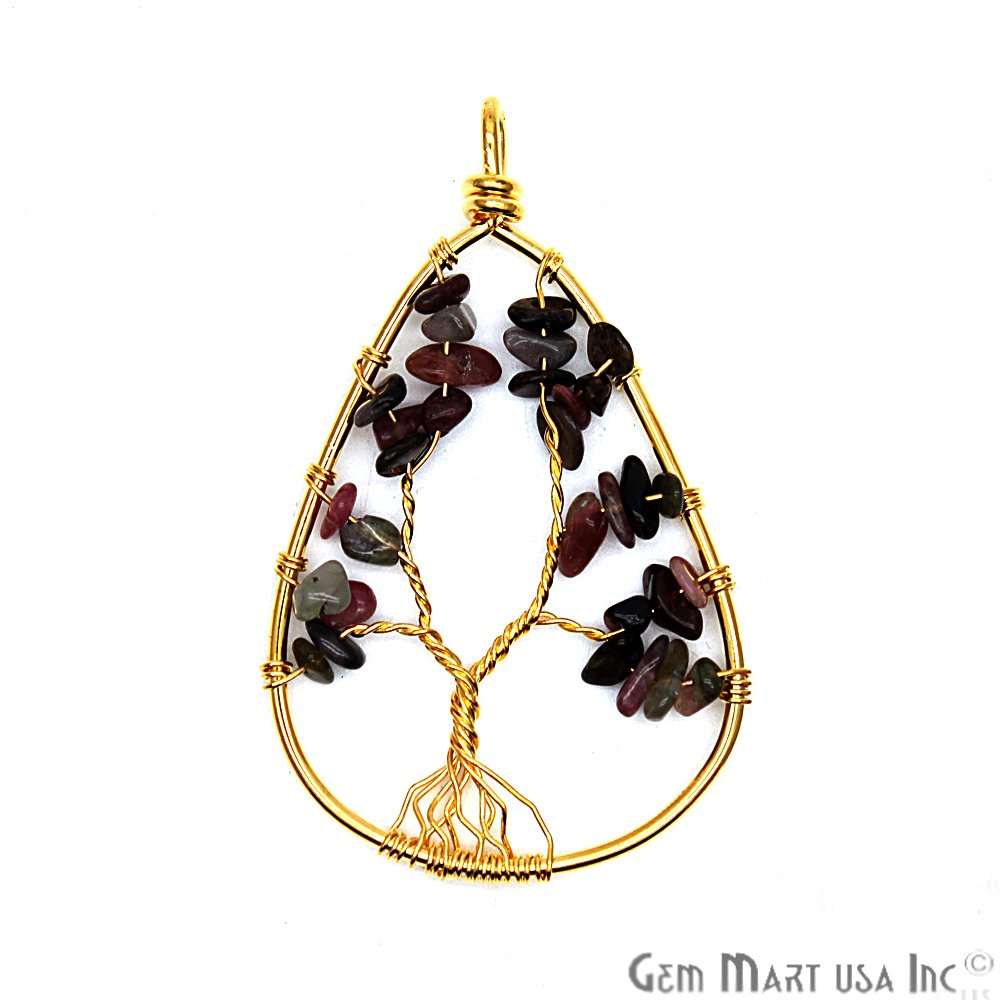 DIY 31x50mm Tree of Life Multi Tourmaline Gemstone Gold Wire Wrapped Necklaces Pendant (CHPR-50784)