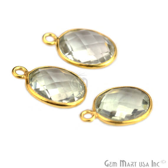 Natural Green Amethyst Bezel Connector Oval Shape 24k Gold Plated Single Bail Connector (GA-10209)