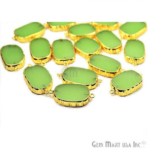 Natural Green Chalcedony Octagon 25x17mm Double Bail Gold Electroplated Gemstone Connector