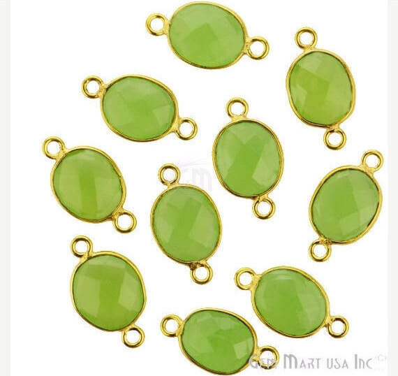 Natural Green Chalcedony Bezel Connector Oval Shape 24K Gold Plated Double Bail Connector (GC-11542)