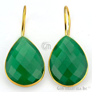 Green Onyx 19X42mm Gold Plated Gemstone Dangle Earrings