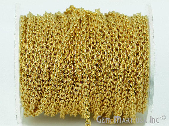 Gold Plated 3mm Links Chain With Excellent Quality,Link Chain by Foot (GP-30006)