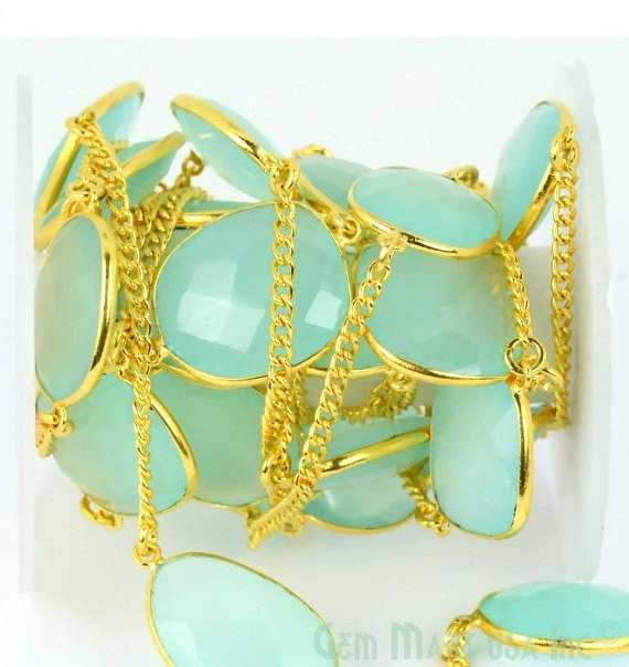 Aqua Chalcedony 15mm Connector Chain, Gold Plated Bezel Connector Link Rosary Chain, Jewelry Making Supplies (GPAD-20003)