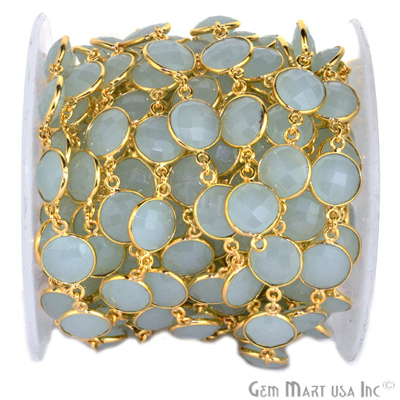 Aqua Chalcedony Connector Chain, Gold Plated Bezel Continuous Connector Chain, Jewelry Making Supplies (GPAD-20008)