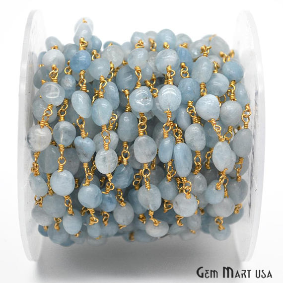 Aqua Chalcedony Beads Chain, Gold Plated wire wrapped Rosary Chain, Jewelry Making Supplies (GPAD-30044)
