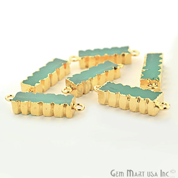 Aqua Chalcedony 32x9mm Double Bails Gold Eletroplated Bar Charm Necklace Pendant (Gpad-50002)