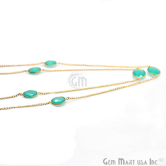Aqua Chalcedony Bezel Connector Chain, Oval Shape Gold Plated Necklace Chain 36Inch Inch (GPAD-90005)