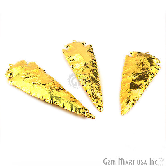 24k Gold Electroplated Arrow Heads Jasper Stone Pendant, 95x33mm Dangle Pendant