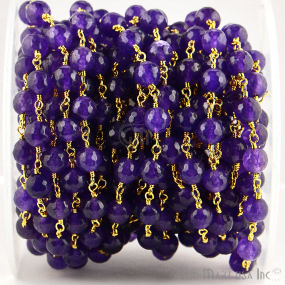Amethyst Jade Beads Chain, Gold Plated wire wrapped Rosary Chain, Jewelry Making Supplies (GPAJ-30013)