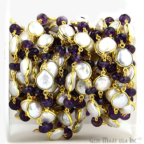 Pearl Connector With Amethyst Rondelle, 7-8mm Mix Shapes 24k Gold Plated Bezel Connector Chain (GPAL-20023)