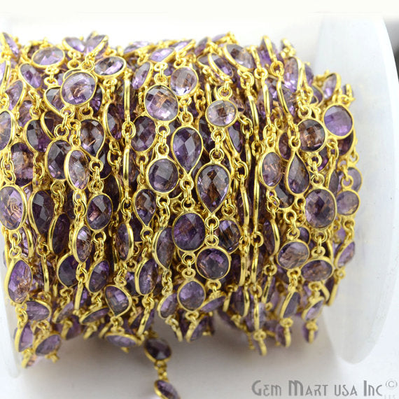 Amethyhst Connector Chain, Gold Plated Bezel Continuous Connector Chain, Jewelry Making Supplies (GPAM-20005)