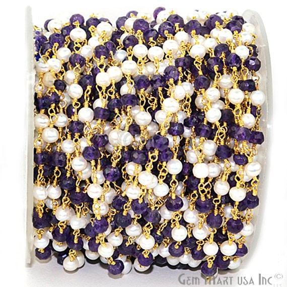 Amethyst With Pearl Fancy Rosary Chain, Gold Plated Wire Wrapped Rosary Chain, Jewelry Making Supplies (GPAM-30007)