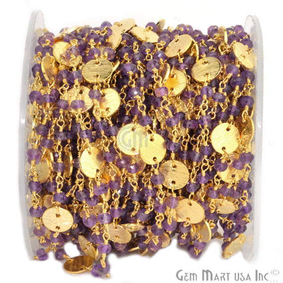 Amethyst Beads Chain, Gold Plated wire wrapped Rosary Chain, Jewelry Making Supplies (GPAM-30016)