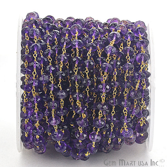 Amethyst Beads Chain, Gold Plated wire wrapped Rosary Chain, Jewelry Making Supplies (GPAM-30035)