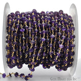 Amethyst Beads Chain, Gold Plated wire wrapped Rosary Chain, Jewelry Making Supplies (GPAM-30038)