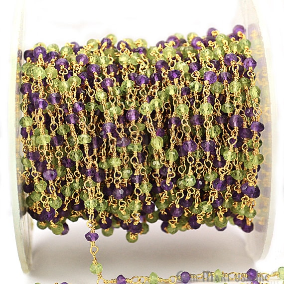 Amethyst With Peridot Fancy Rosary Chain, Gold Plated Wire Wrapped Rosary Chain, Jewelry Making Supplies (GPAM-30060)