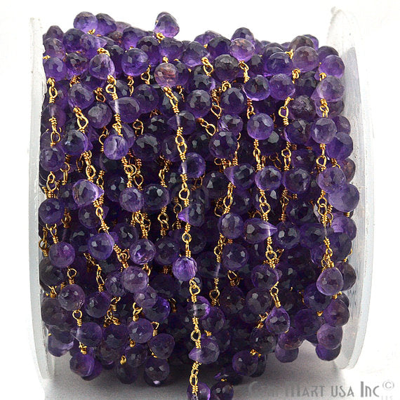 Amethyst Beads Chain, Gold Plated wire wrapped Rosary Chain, Jewelry Making Supplies (GPAM-30068)