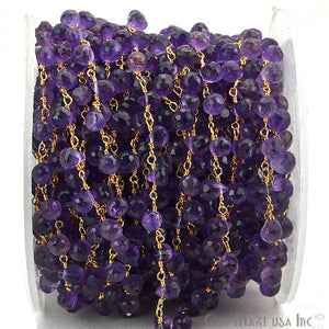 Amethyst Tear Drops Beads Gold Plated Wire Wrapped Briolette Rosary Chain