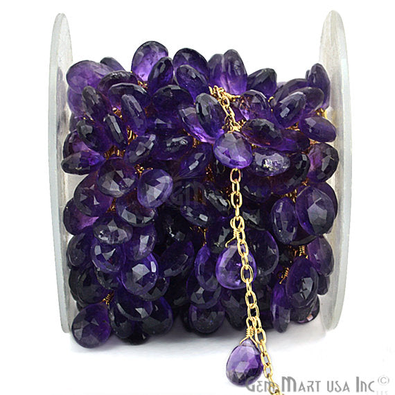 Amethyst Beads Chain, Gold Plated wire wrapped Rosary Chain, Jewelry Making Supplies (GPAM-30072)