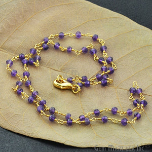 Natural Amethyst Necklace chain, 18 Inch Gold Plated Beaded Necklace Jewellery