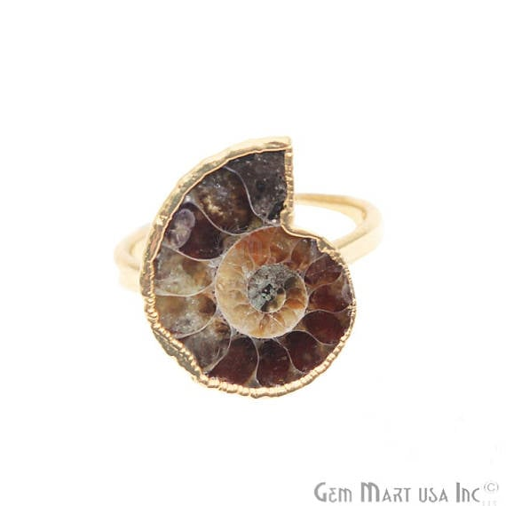 Ammonite Gold Plated Ring, Adjustable Fashion Jewelry Statement Ring (GPAN-12002)