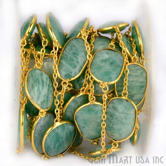 Amazonite 10-15mm Connector Chain, Gold Plated Bezel Connector Link Rosary Chain, Jewelry Making Supplies (GPAZ-20002)