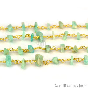 Amazonite Nugget Chip Beads Gold Wire Wrapped Rosary Chain - GemMartUSA