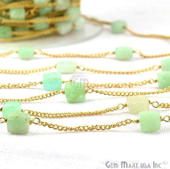 Amazonite Box 6-7mm Beads Chain, Gold Plated wire wrapped Rosary Chain, Jewelry Making Supplies (GPAZ-30032)