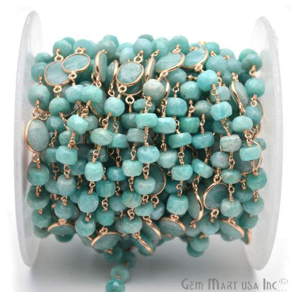 Amazonite Connector Beads Chain, Gold Plated wire wrapped Rosary Chain, Jewelry Making Supplies (GPAZ-30036)