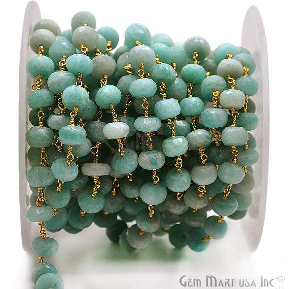 Amazonite Rondelle Beads Chain, Gold Plated wire wrapped Rosary Chain, Jewelry Making Supplies (GPAZ-30039)