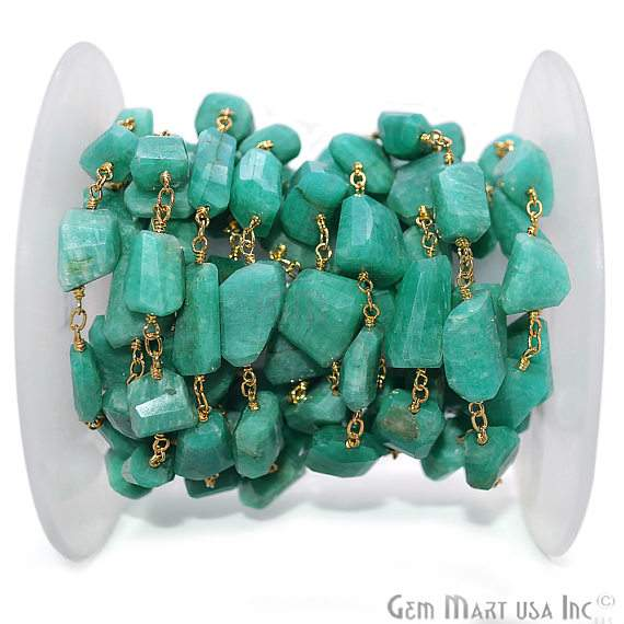 Amazonite Rondelle Bead Rosary Chain, Gold Plated Wire Wrapped Rosary Chain (GPAZ-30041)