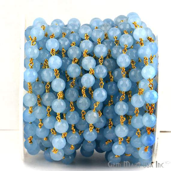 Baby Blue Jade 8mm Beads Chain, Gold Plated wire wrapped Rosary Chain, Jewelry Making Supplies (GPBB-30013)