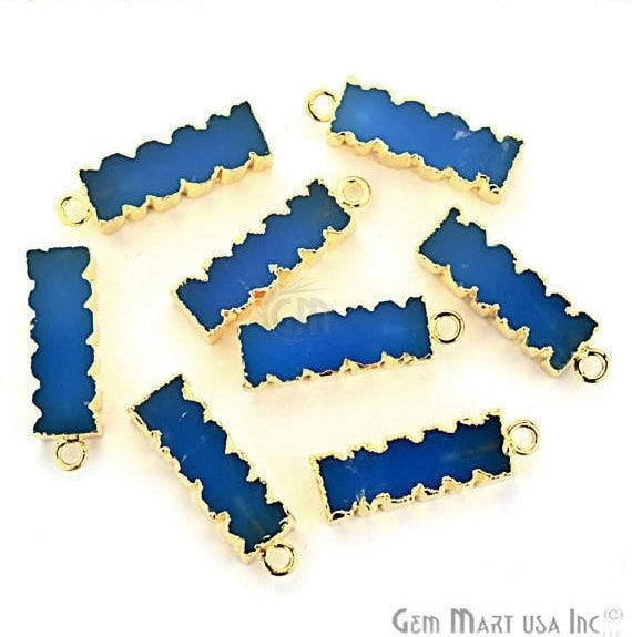 Blue Chalcedony 32x9mm Single Bail Gold Eletroplated Bar Charm Necklace Pendant (GPBC-50004)