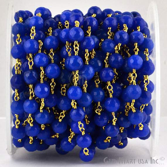 Blue Jade 8mm Beads Chain, Gold Plated wire wrapped Rosary Chain, Jewelry Making Supplies (GPBJ-30013)