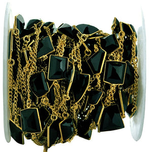 Black Onyx 10-15mm Freeform Shape Gold Plated Bezel Connector Chain