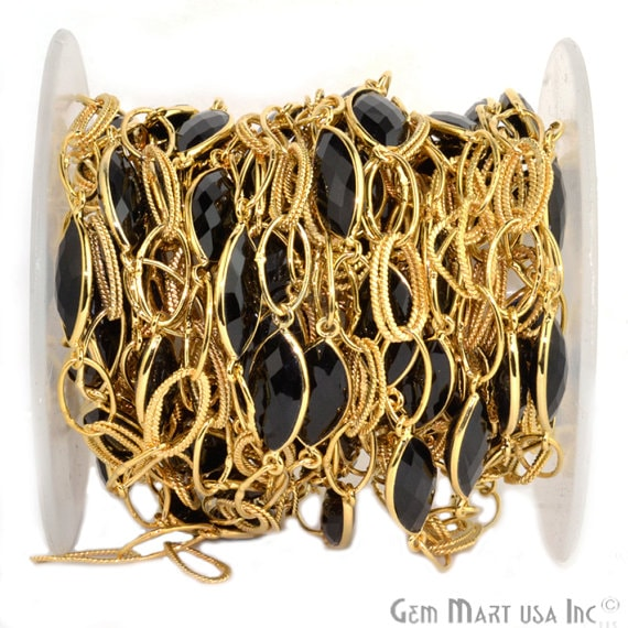 Black Onyx, 10x20mm Marquise Shape 24k Gold Plated Bezel Connector Chain (GPBO-20021)