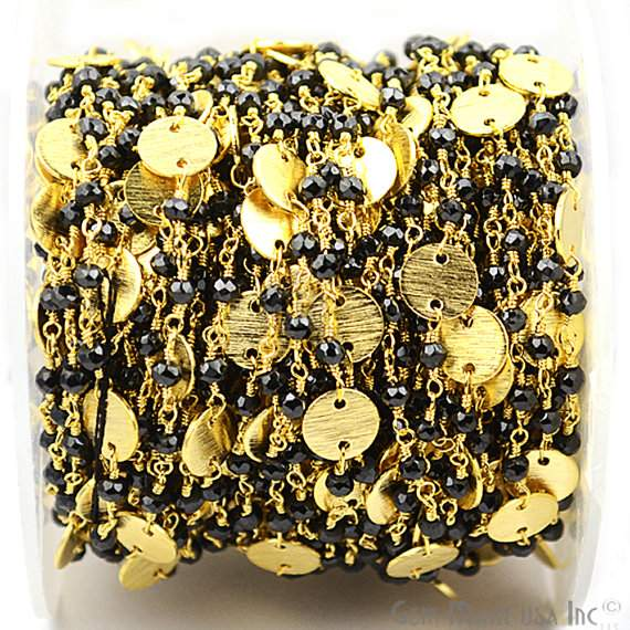 Black Spinel Faceted 3-35mm Beads Chain, Gold Plated wire wrapped Rosary Chain, Jewelry Making Supplies (GPBS-30016)