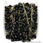Black Spinel Briolette 8x5mm Beads Chain, Gold Plated wire wrapped Rosary Chain, Jewelry Making Supplies (GPBS-30072)