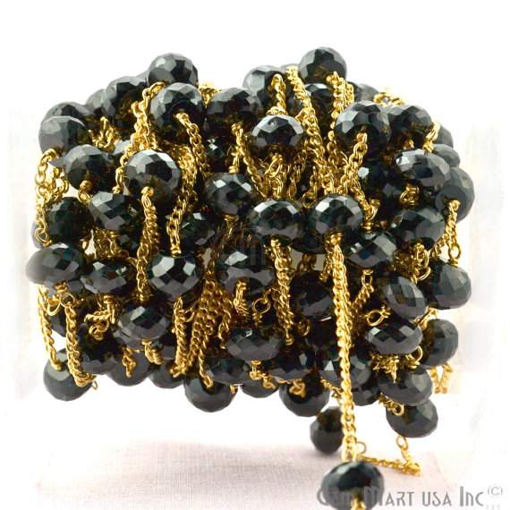 Black Spinel 7-8mm Beads Chain, Gold Plated wire wrapped Rosary Chain, Jewelry Making Supplies (GPBS-30076)