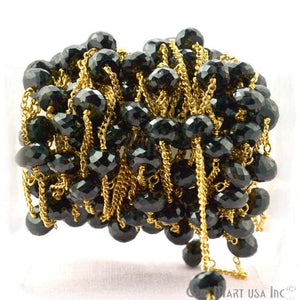 Black Spinel 7-8mm Gold Plated Wire Wrapped Rondelle Beads Chain