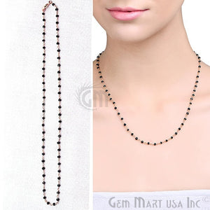 Natural Black Spinel Necklace chain, 18 Inch Gold Plated Beaded Necklace Jewellery - GemMartUSA