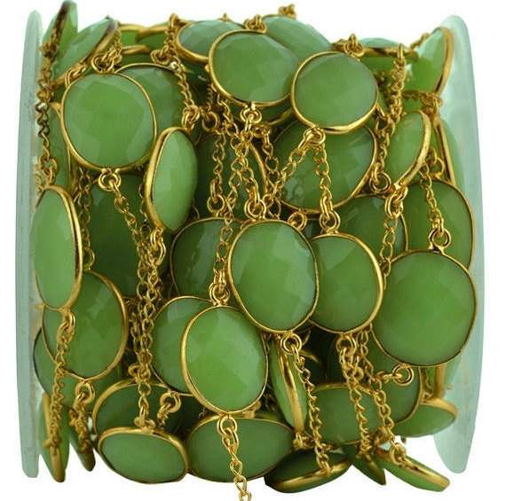Chrysoprase Chalcedony 15mm Connector Chain, Gold Plated Bezel Connector Link Rosary Chain, Jewelry Making Supplies (GPCC-20003)